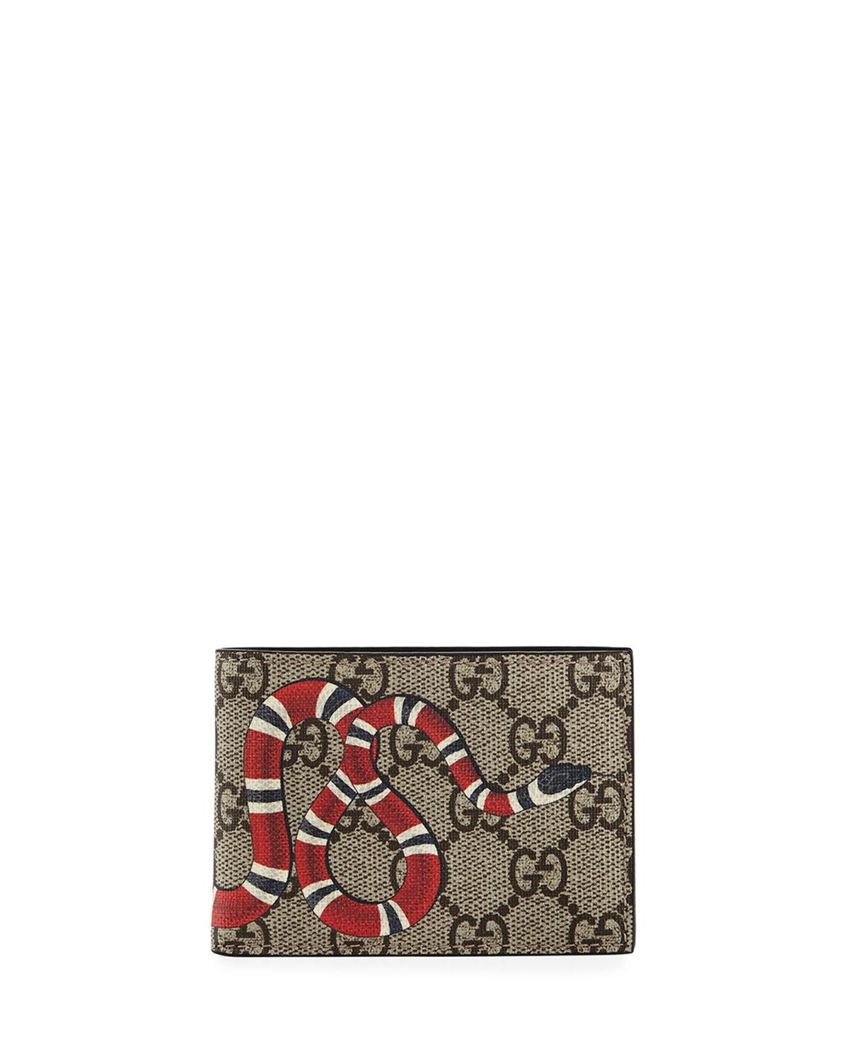 df1f7762919f88 Gucci Snake Printed Coated Canvas Wallet in Natural for Men - Save ...
