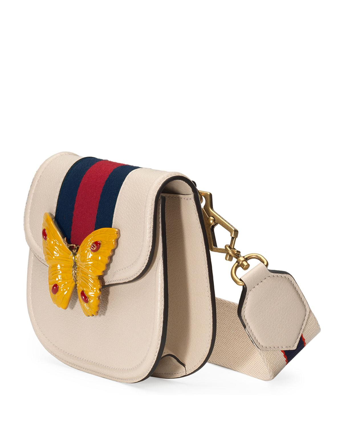 8676be2b5 Gucci Linea Totem Small Leather Shoulder Bag With Butterfly & Web ...