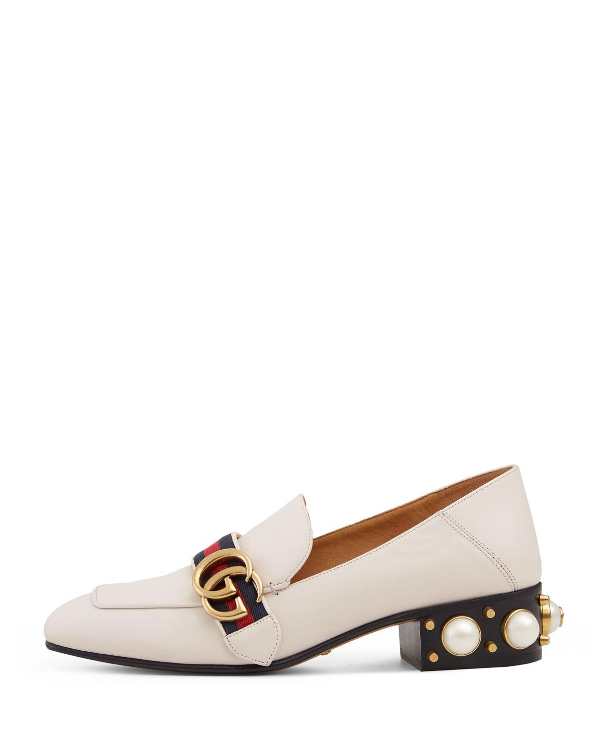 da90095b066 Lyst - Gucci Peyton Pearly-heel Loafer in White