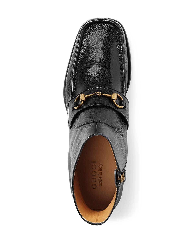 ae656c764da Gucci Vegas Horsebit Leather Boot in Black - Lyst