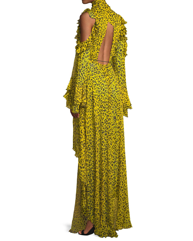 9d417ba9e3f9 Diane von Furstenberg Ruffled Leopard-print Silk-georgette Wrap Maxi ...