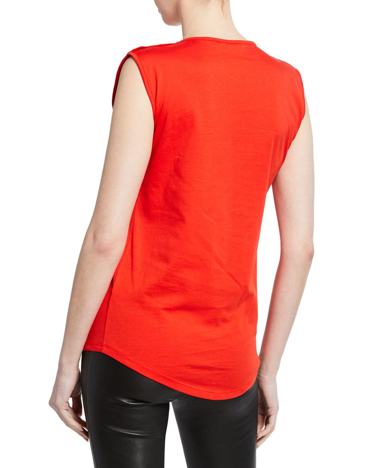 1f1a3deee58abe Lyst - Balmain Sleeveless Logo Button Tee in Red