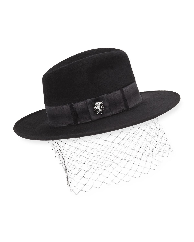 Lyst - Philip Treacy Velour Trilby Hat W  Unicorn Bow in Black 2ae5b3ae5eb0