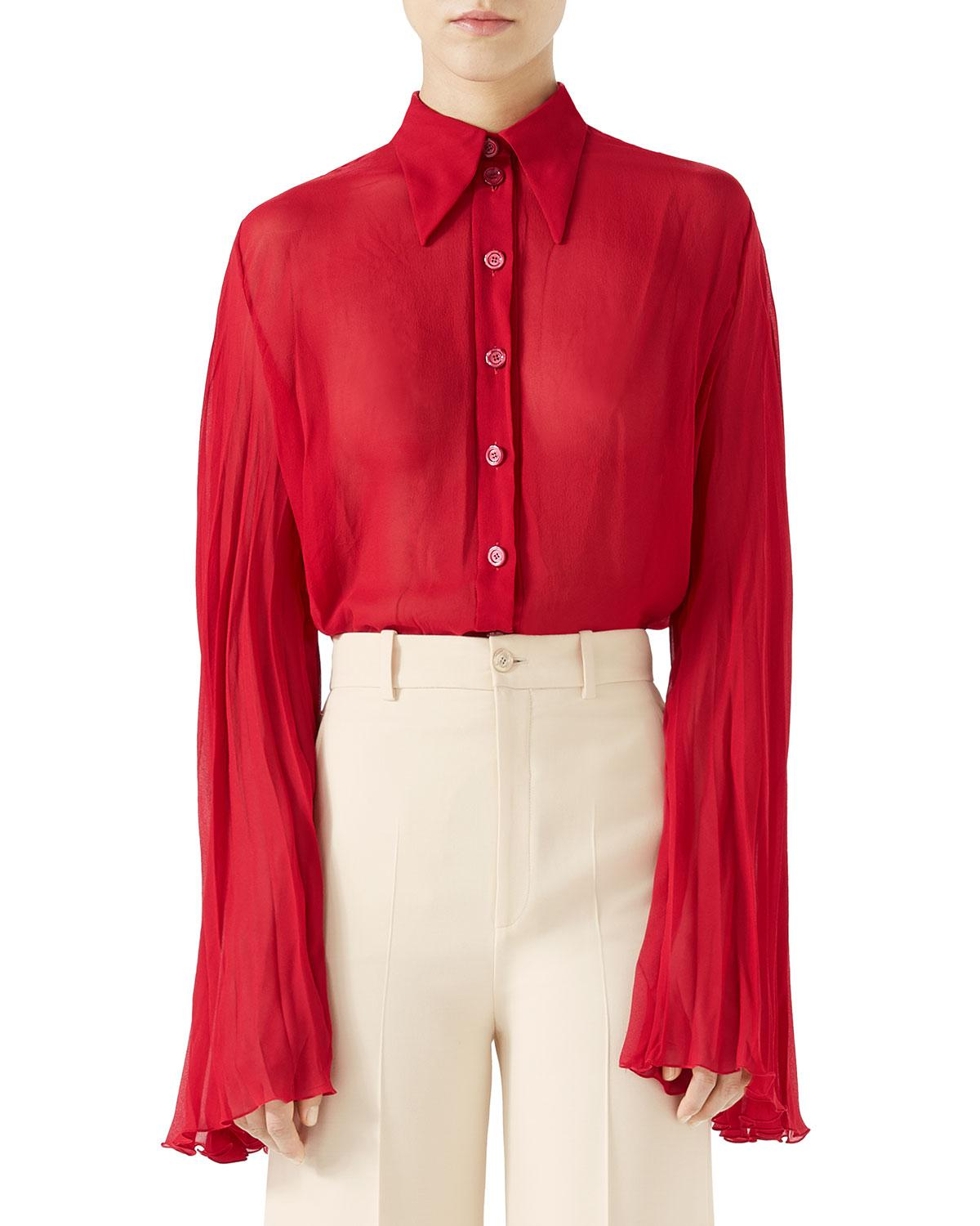 c4f711add Lyst - Gucci Long-sleeve Button-down Silk Georgette Plisse Shirt in Red