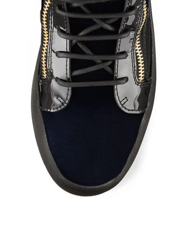 c28f3efc9f0 Lyst - Giuseppe Zanotti Men s Velvet High-top Sneaker With Golden ...