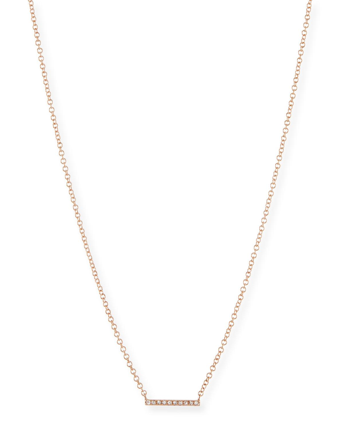 EF Collection Mini Diamond Bar Pendant Necklace MDG2VqBii