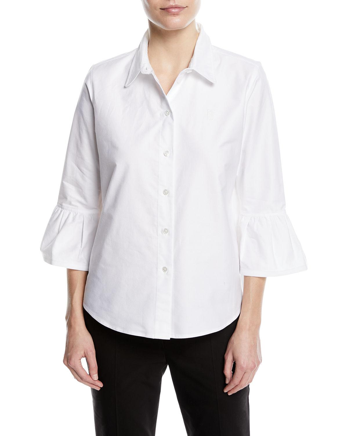 Marc Jacobs Woman Ruffle-trimmed Cotton-blend Poplin Shirt White Size 4 Marc Jacobs Clearance Marketable Free Shipping Cheap Real vRSZ2jfBS