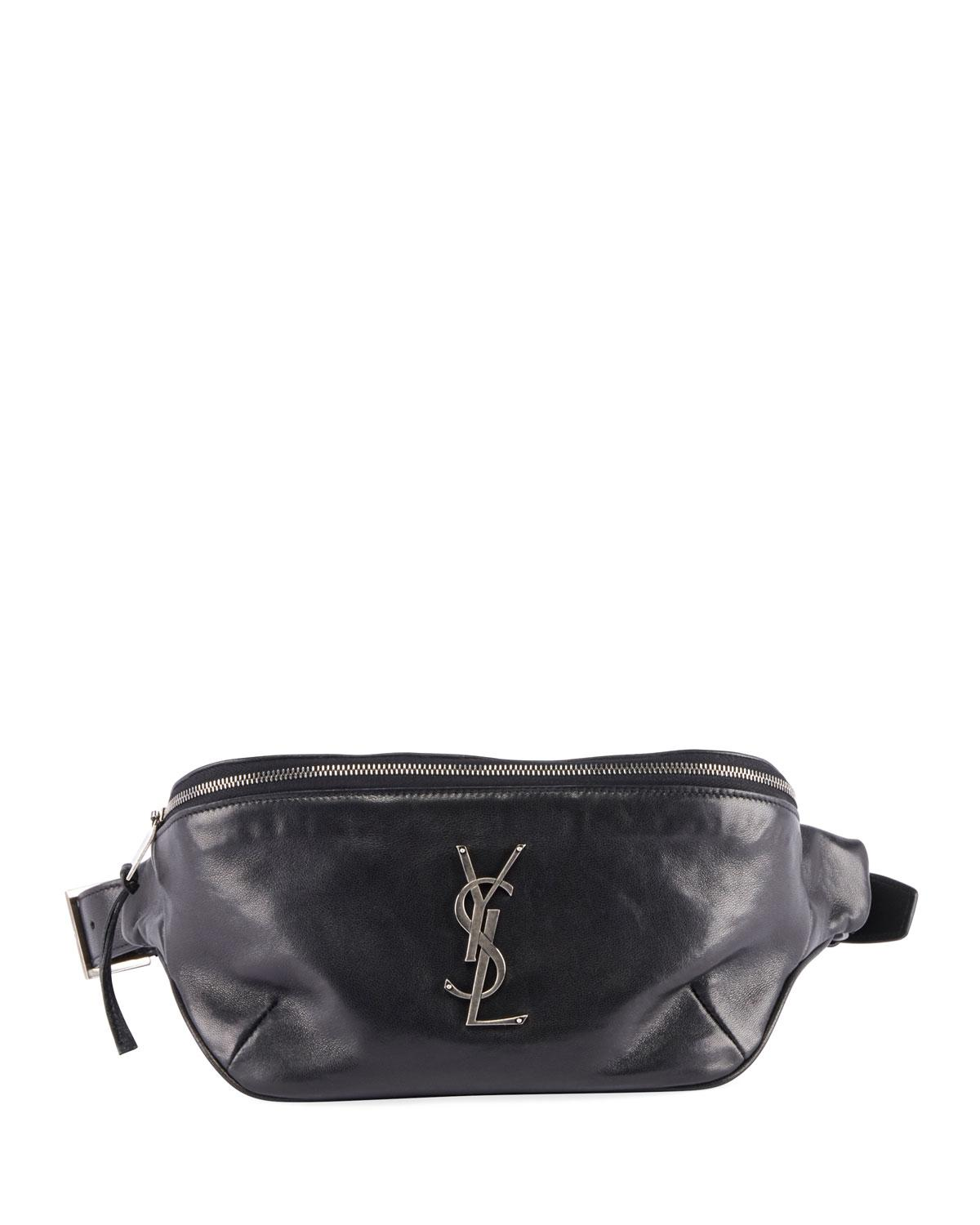 c9f7a7bd76 Lyst - Saint Laurent Ysl Monogram Curved Zip-top Belt Bag in Black