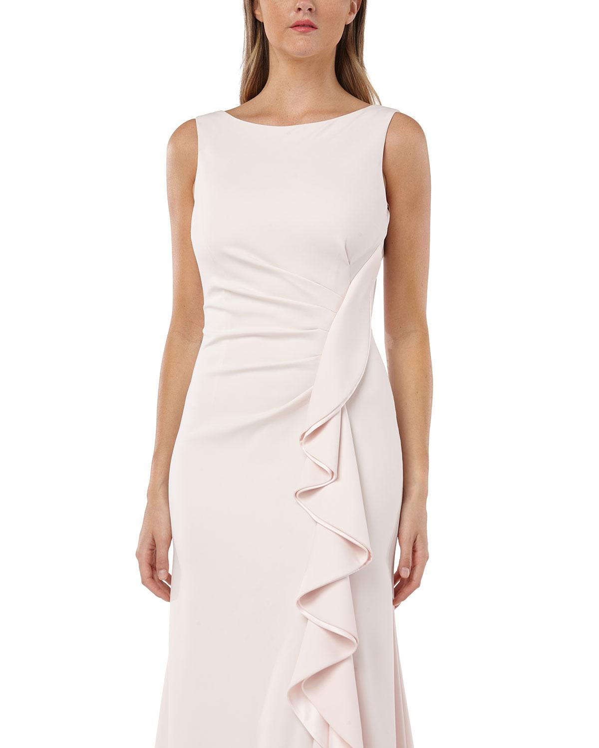 0eed19c9ad8 Lyst - Carmen Marc Valvo Bateau-neck Sleeveless Gown W  Side-ruching    Draped Ruffle Detail in Pink