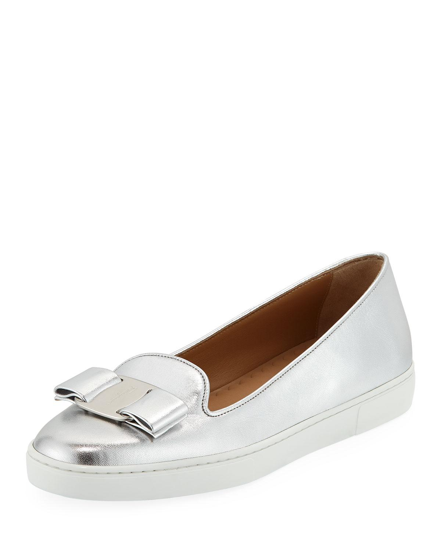 6819982b90 Lyst - Ferragamo Novello Bow Slip-on Sneakers in Metallic