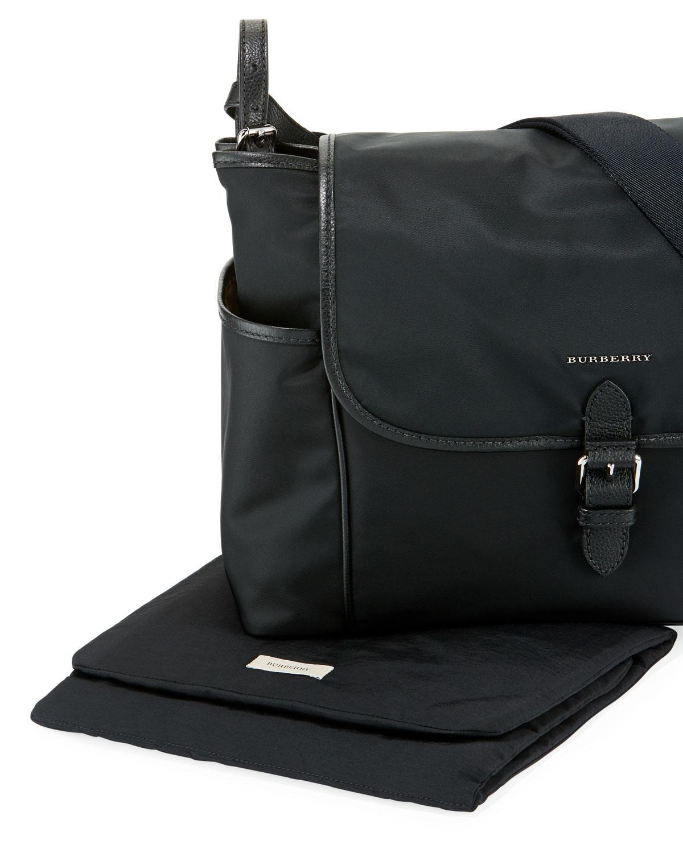 77a7d34a9d39 Burberry Nylon Flap-top Diaper Bag in Black - Lyst