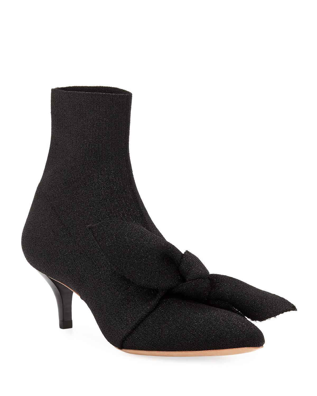 41489cfbe9c2 Lyst - Loeffler Randall Kassidy Stretch Kitten-heel Booties With Bow ...