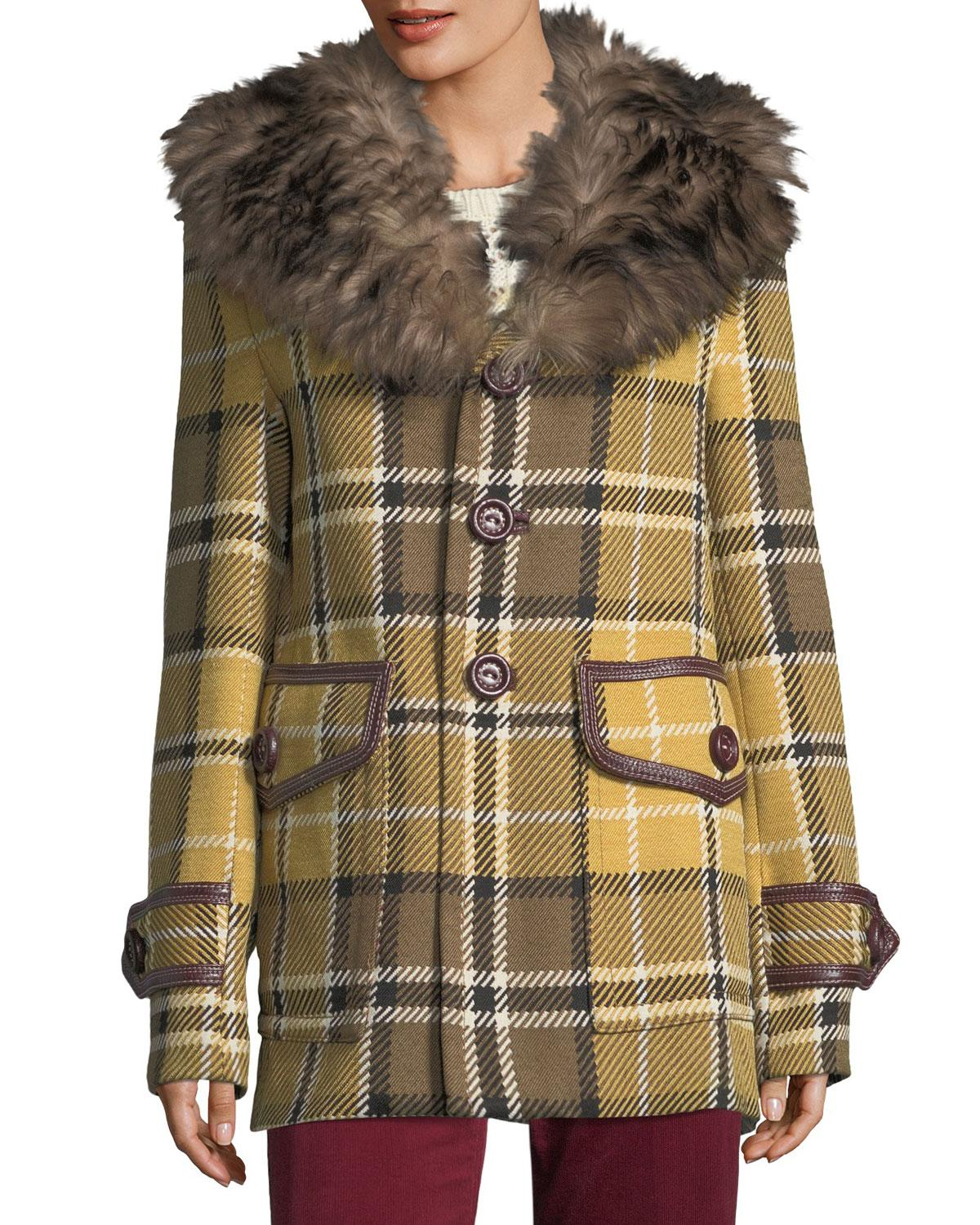 Marc Jacobs. Women's Plaid Coat With Shearling Fur Collar