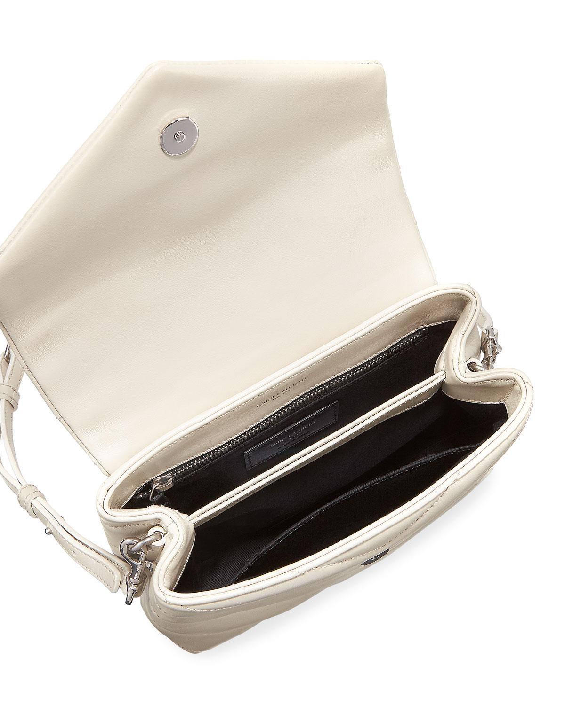1e8db53ecf Saint Laurent Loulou Monogram Ysl Mini V-flap Calf Leather Crossbody Bag -  Nickel Oxide Hardware - Lyst