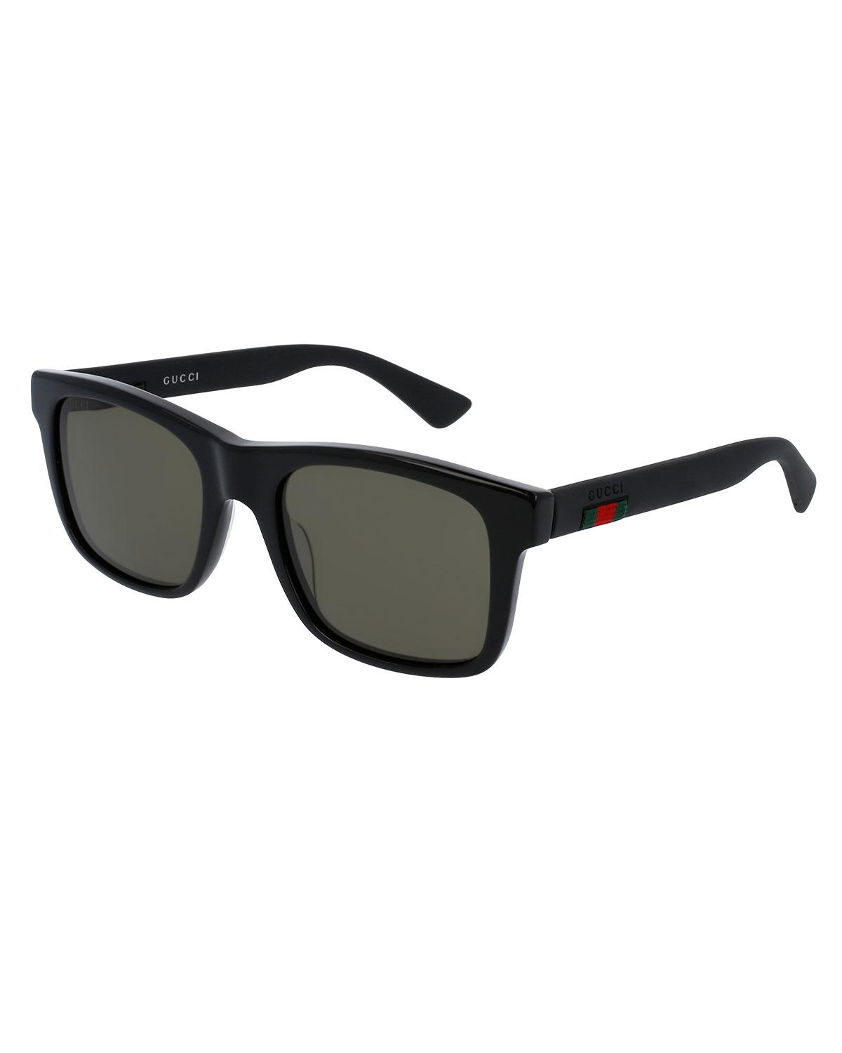 0e65bdabd5251 Lyst - Gucci Acetate Rectangular Sunglasses W web Detail in Black