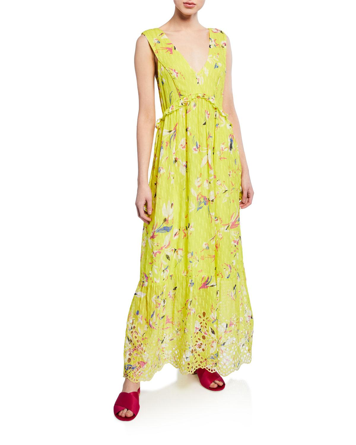 d53f5069e30 Women's Yellow Catalina Floral-print V-neck Sleeveless Maxi Dress