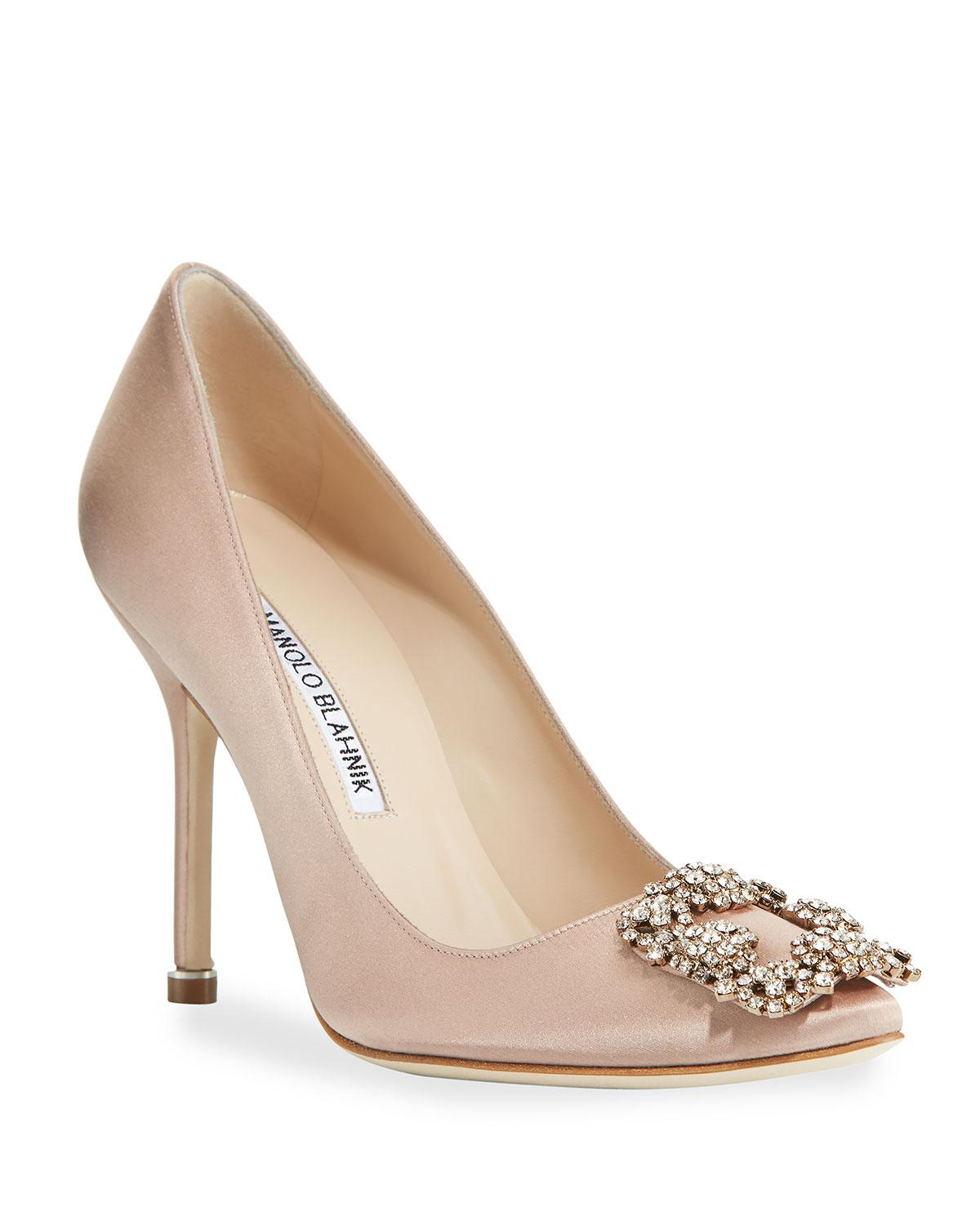 21992a3b989 Lyst - Manolo Blahnik Hangisi 105mm Satin Pumps in Natural