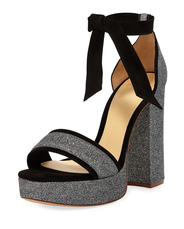 f88014fd8d5 Alexandre Birman - Black Celine Glitter Platform Sandal - Lyst. View  fullscreen