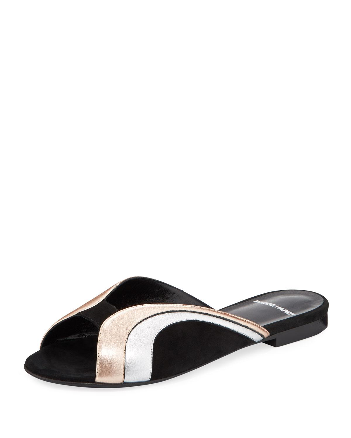 9ce50845368381 Lyst - Pierre Hardy Rainbow Metallic Leather Slide Sandals in Black