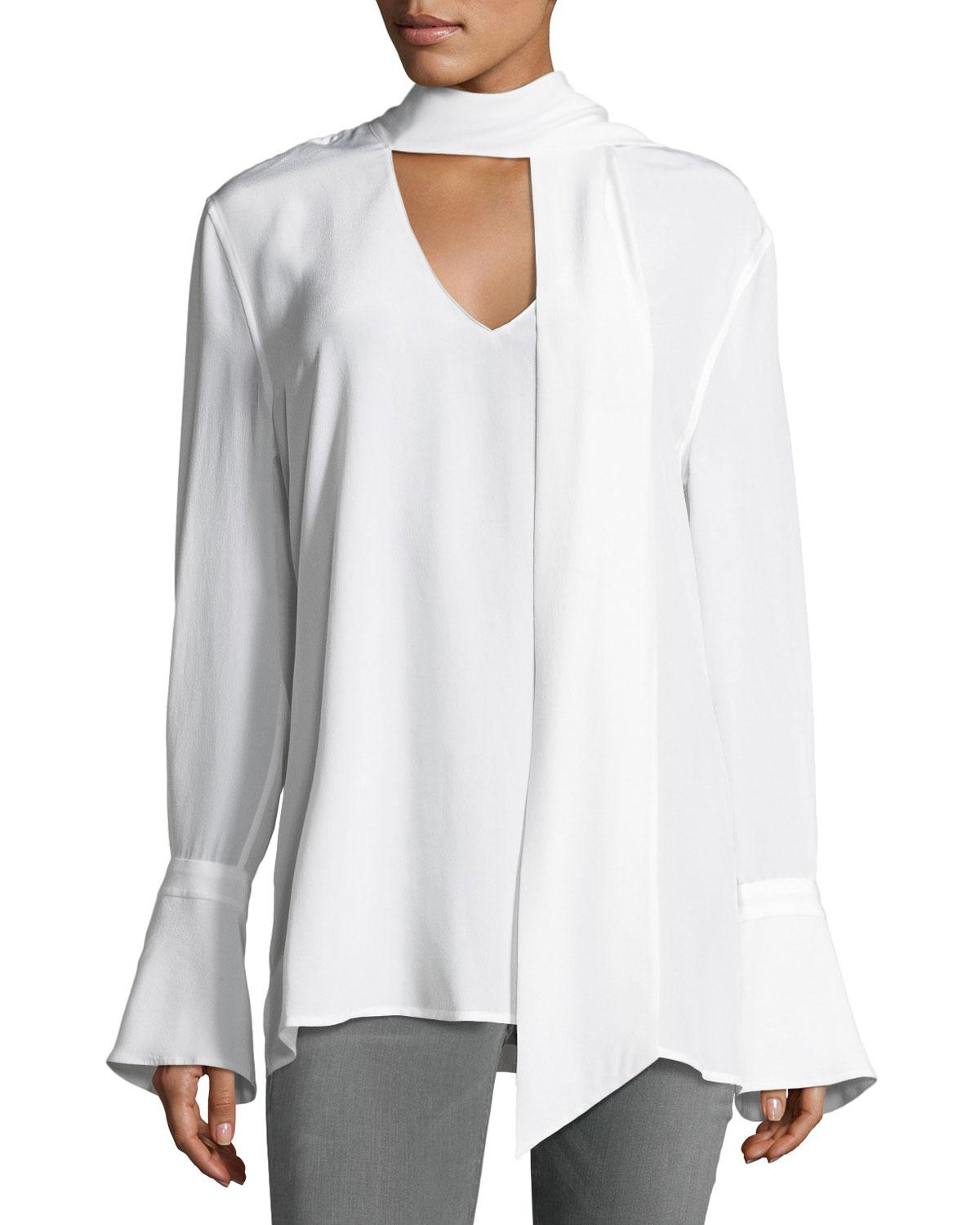fe74574fbd492d Equipment Jacqueleen Bell-cuff Tie-neck Silk Blouse in White - Lyst