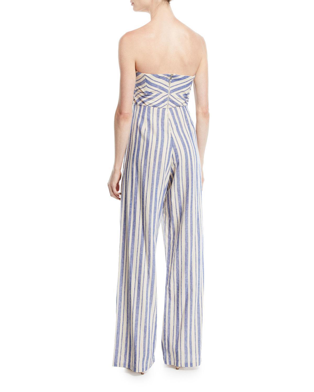 19155fda43b Lyst - Johanna Ortiz Honolulu Bow-top Striped Linen-cotton Wide-leg Jumpsuit  in Blue