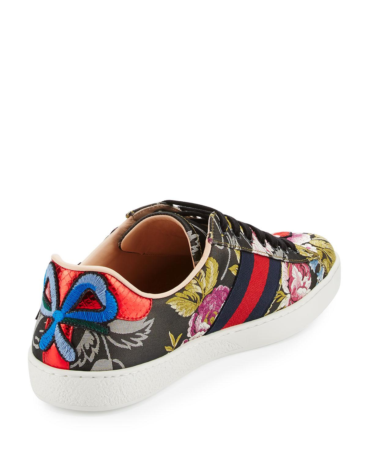 2d249a660 Gucci New Ace Men's Floral Leather Low-top Sneaker for Men - Lyst
