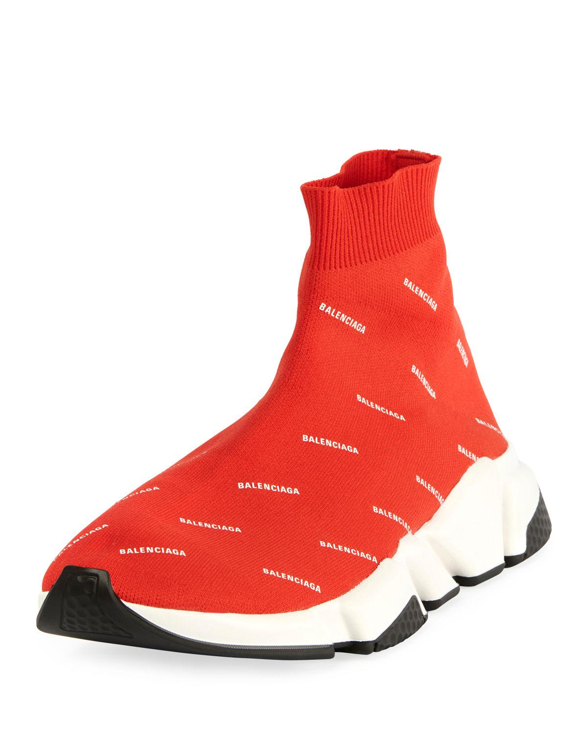 7b0d74d2cdf Balenciaga Men's Speed Signature Mid-top Trainer Sneakers in Red for ...