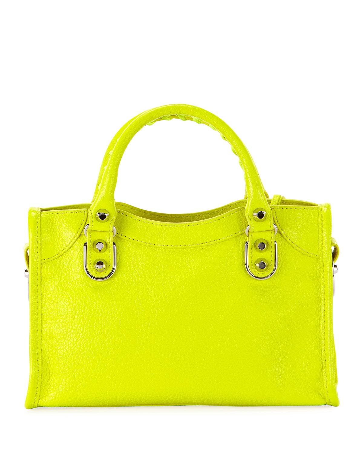 3c470a2bd1 Balenciaga - Green Metallic Edge Mini City Aj Shiny Leather Bag - Lyst.  View fullscreen