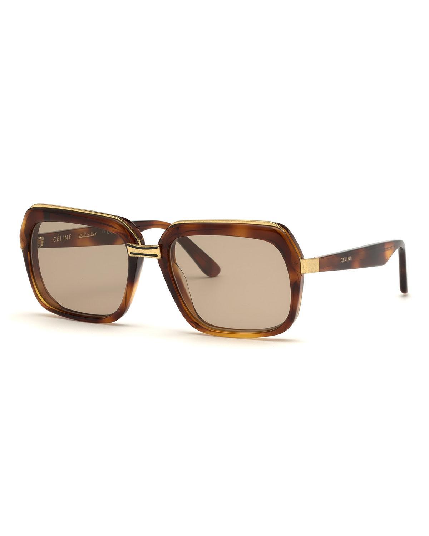 d7cb71b28f7 Céline - Brown Square Metal   Acetate Sunglasses - Lyst. View fullscreen