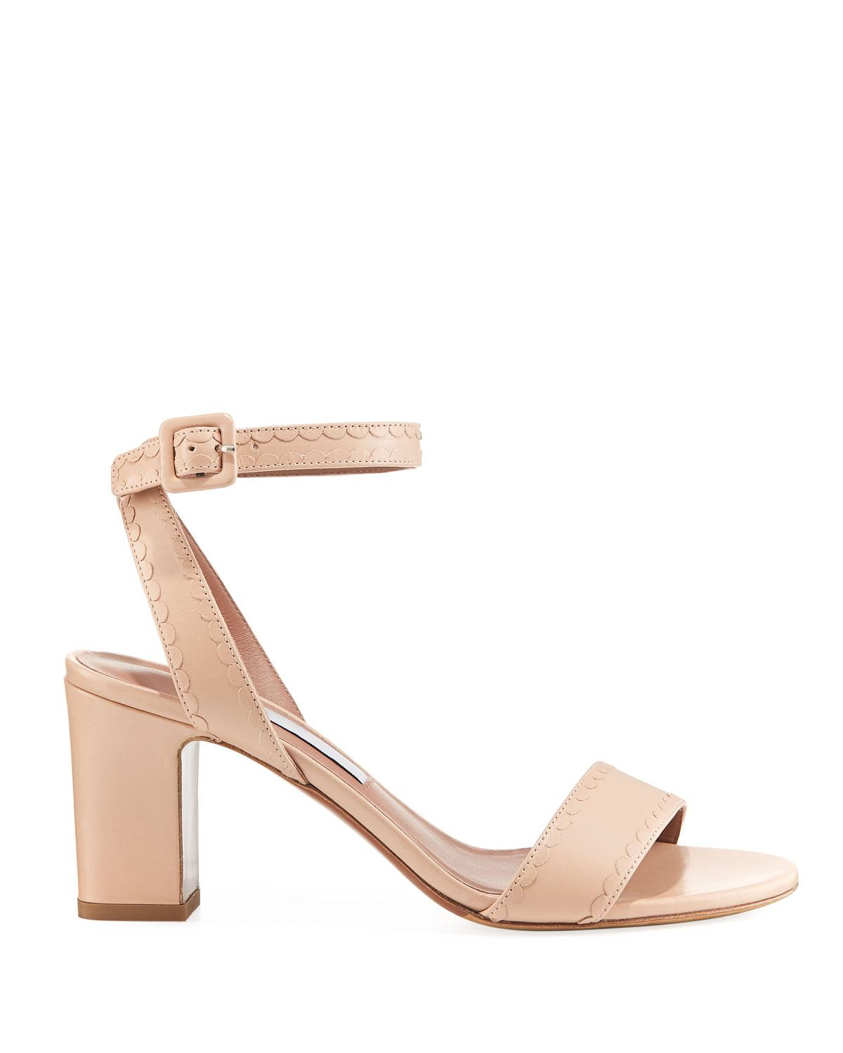 fad5be53817 Lyst - Tabitha Simmons Leticia Scalloped Leather Sandal in Natural