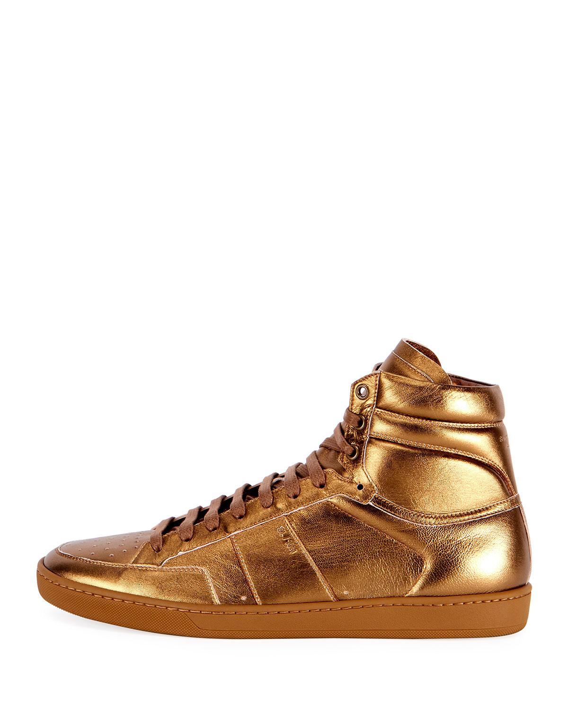 d38abb85 Saint Laurent Men's Sl/10h Signature Court Classic Metallic Leather ...