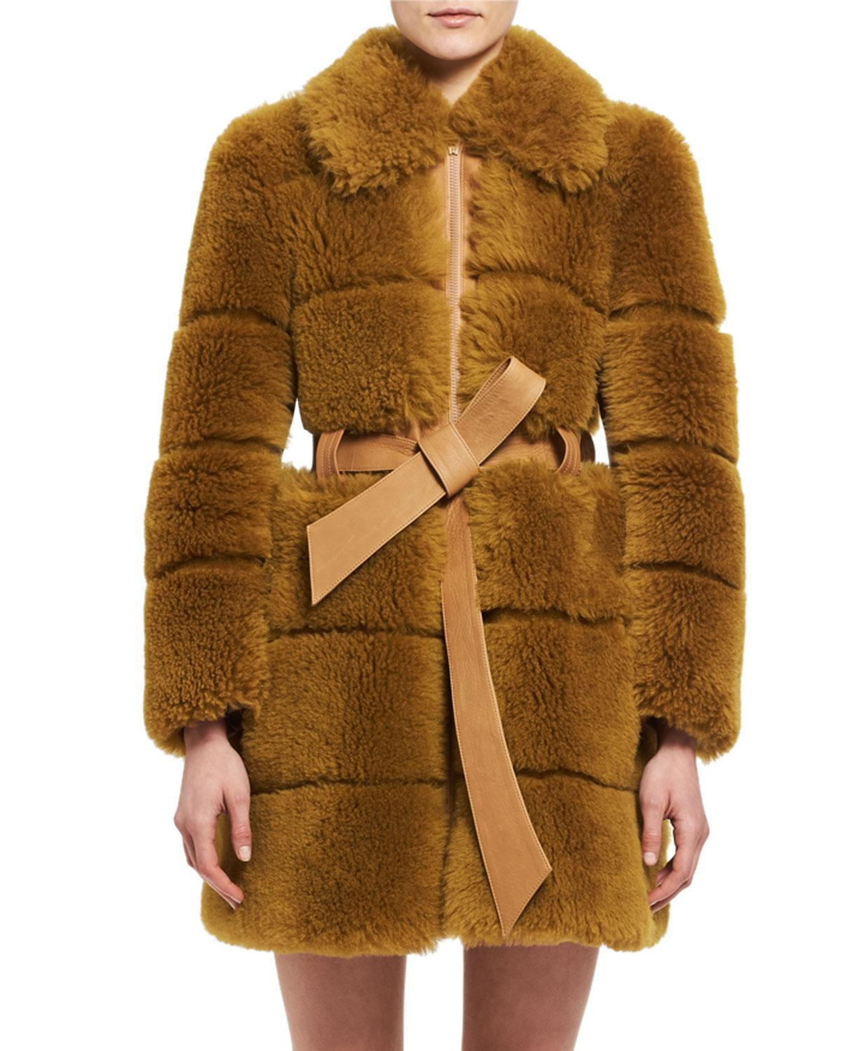 Lyst - Chloé Quilted Shearling Fur Coat in Brown 36f8d68beff3