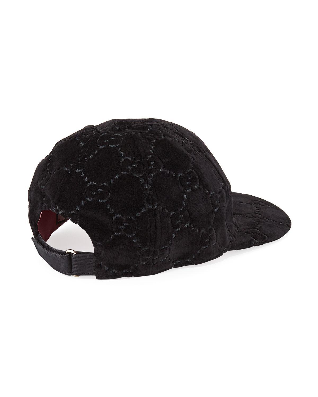 d57388e0835 Lyst - Gucci GG Supreme Velvet Baseball Hat in Black