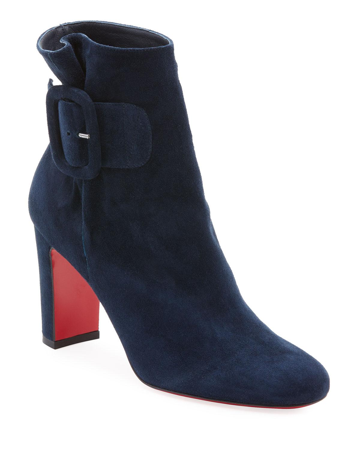 9cfd30e98107 Lyst - Christian Louboutin Tres Olivia Suede Buckled Red Sole ...