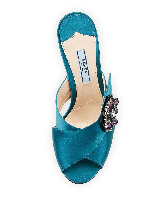 37609f866 Lyst - Prada Jeweled Satin 100mm Slide Sandals in Blue