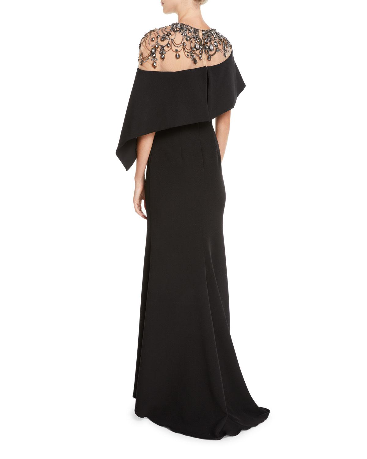 Lyst - Badgley Mischka Jewel-embroidered Asymmetric-cape A-line ...
