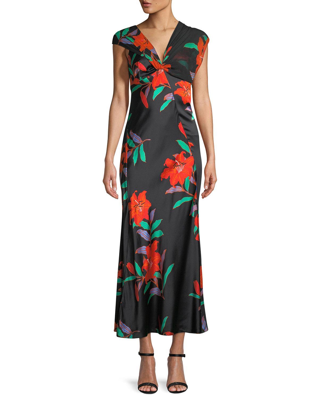 6aff9caeb2c Diane von Furstenberg. Women's Black Floral Silk Asymmetric-sleeve Knotted  Dress