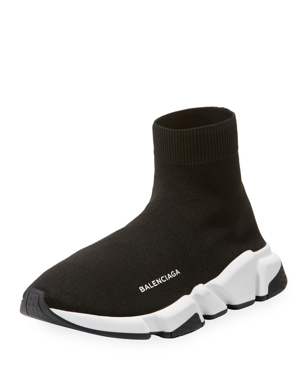 9aeb39b90a13e Balenciaga - Black Allover Logo Speed Lace-up Sneaker. for Men - Lyst. View  fullscreen