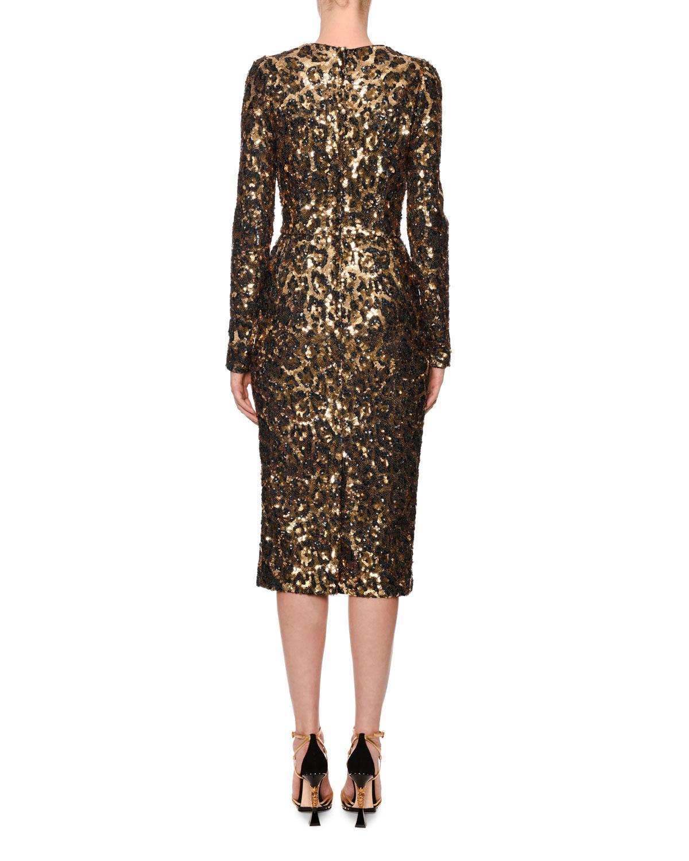 Dolce   Gabbana Long-sleeve Sequined Leopard-print Midi Dress - Lyst ccf7e9c7e