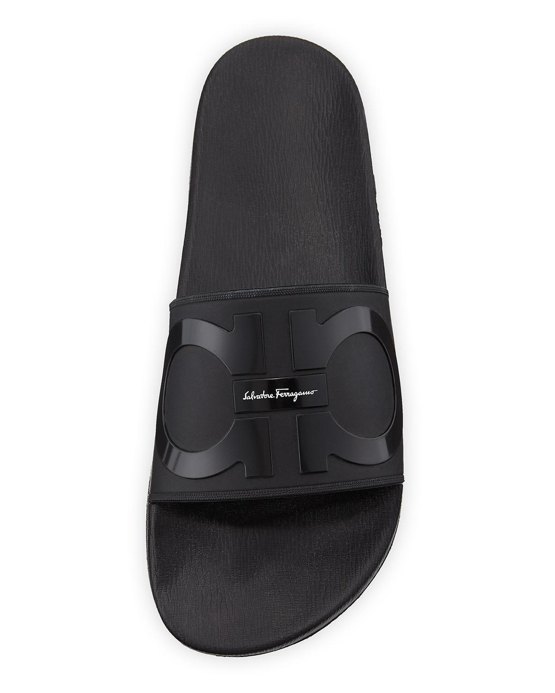 2a9fbb07bd8a Lyst - Ferragamo Men s Groove 2 Rubber Slide Sandals in Black for Men
