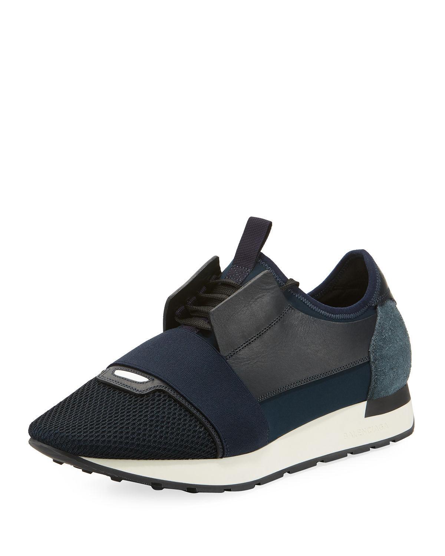 161215108340 Lyst - Balenciaga Men s Race Runner Mesh   Leather Sneakers in Blue ...