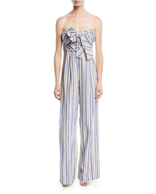 2939a035d6d Lyst - Johanna Ortiz Honolulu Bow-top Striped Linen-cotton Wide-leg ...