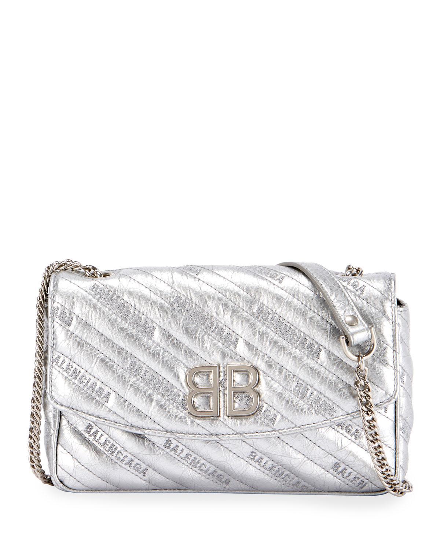 b156f7da27ac Lyst - Balenciaga Bb Chain Metallic Logo Crossbody Bag in Gray