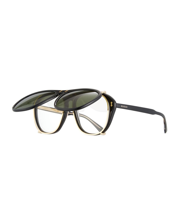 Lyst - Gucci Men\'s Acetate Aviator Optical Frames W/ Sunglasses in ...