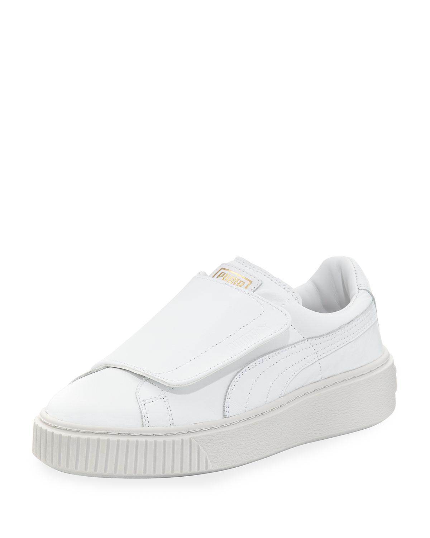 eb18da6ec7a53c Lyst - PUMA Basket Wide-strap Platform Sneaker in White