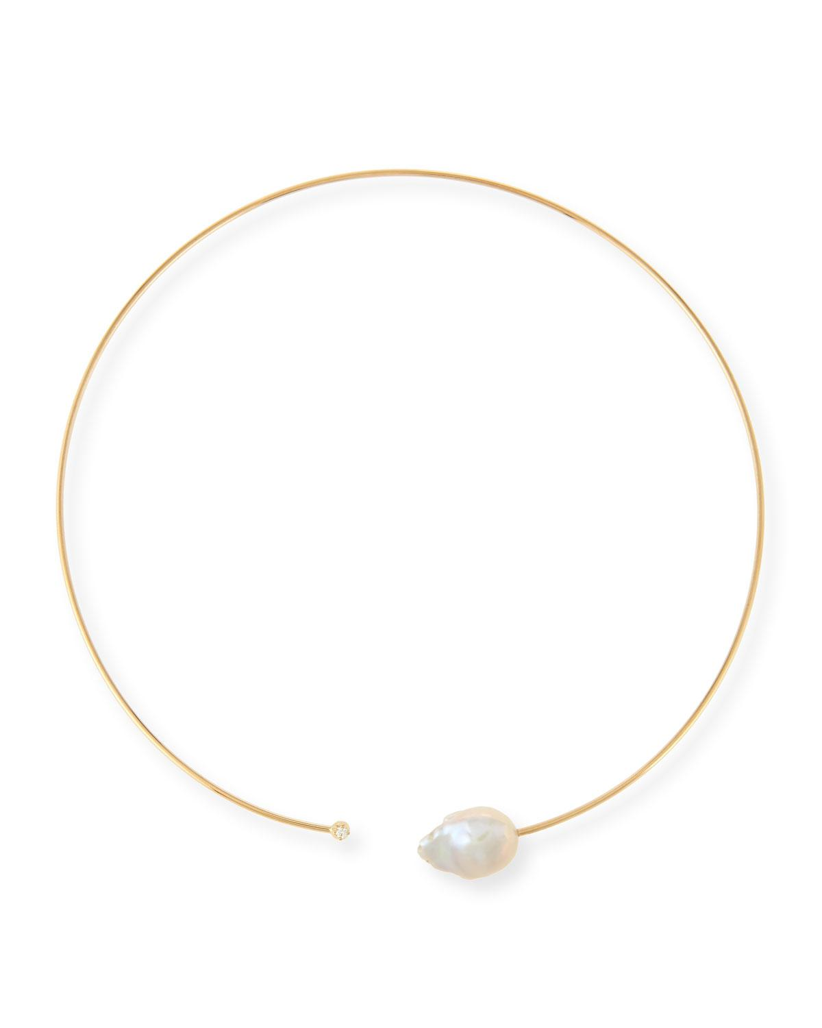 Mizuki Medium Single Pearl Collar Necklace tMaOdKx