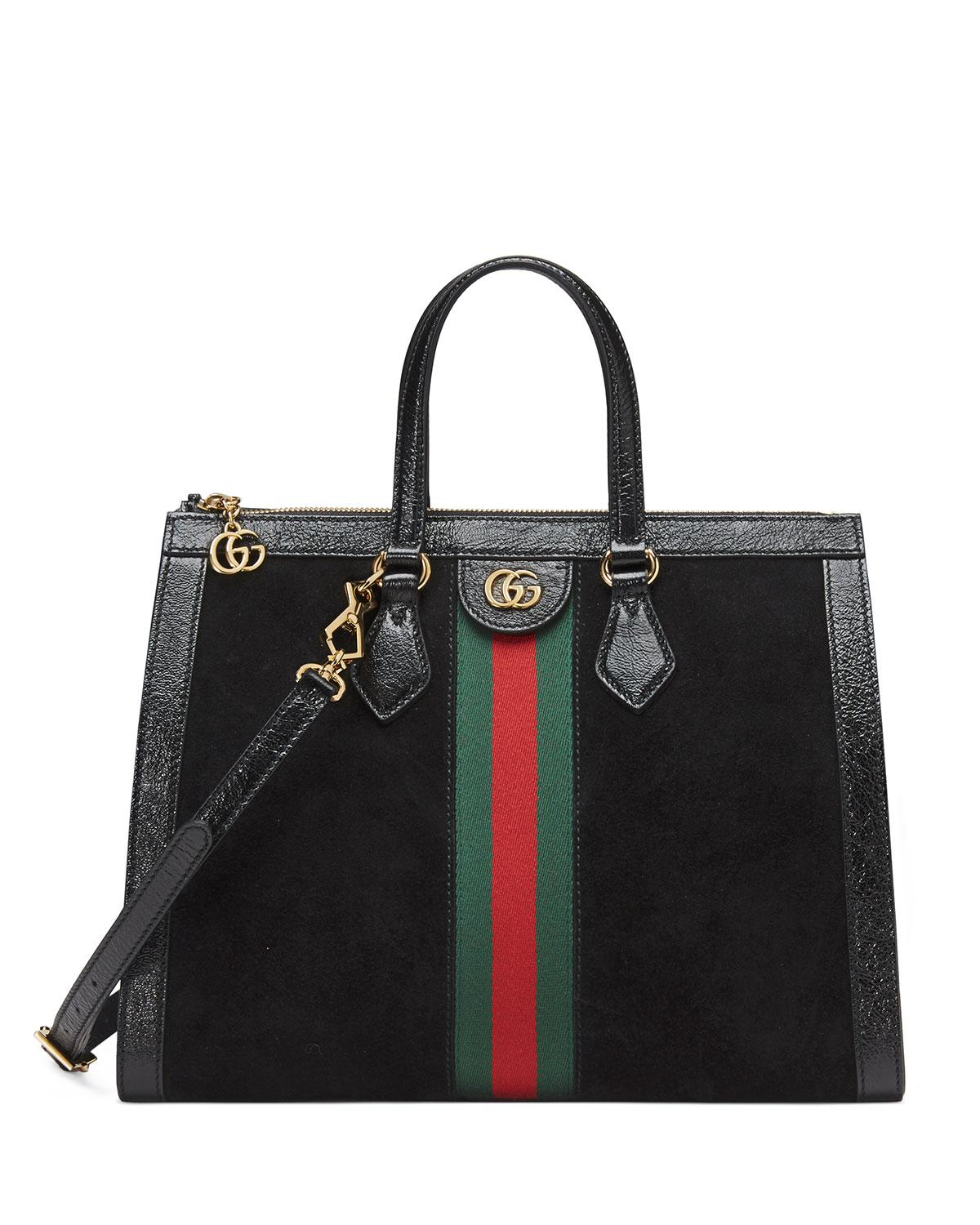 4596cf3914d1 Lyst - Gucci Ophidia Web Suede Top-handle Tote Bag in Black