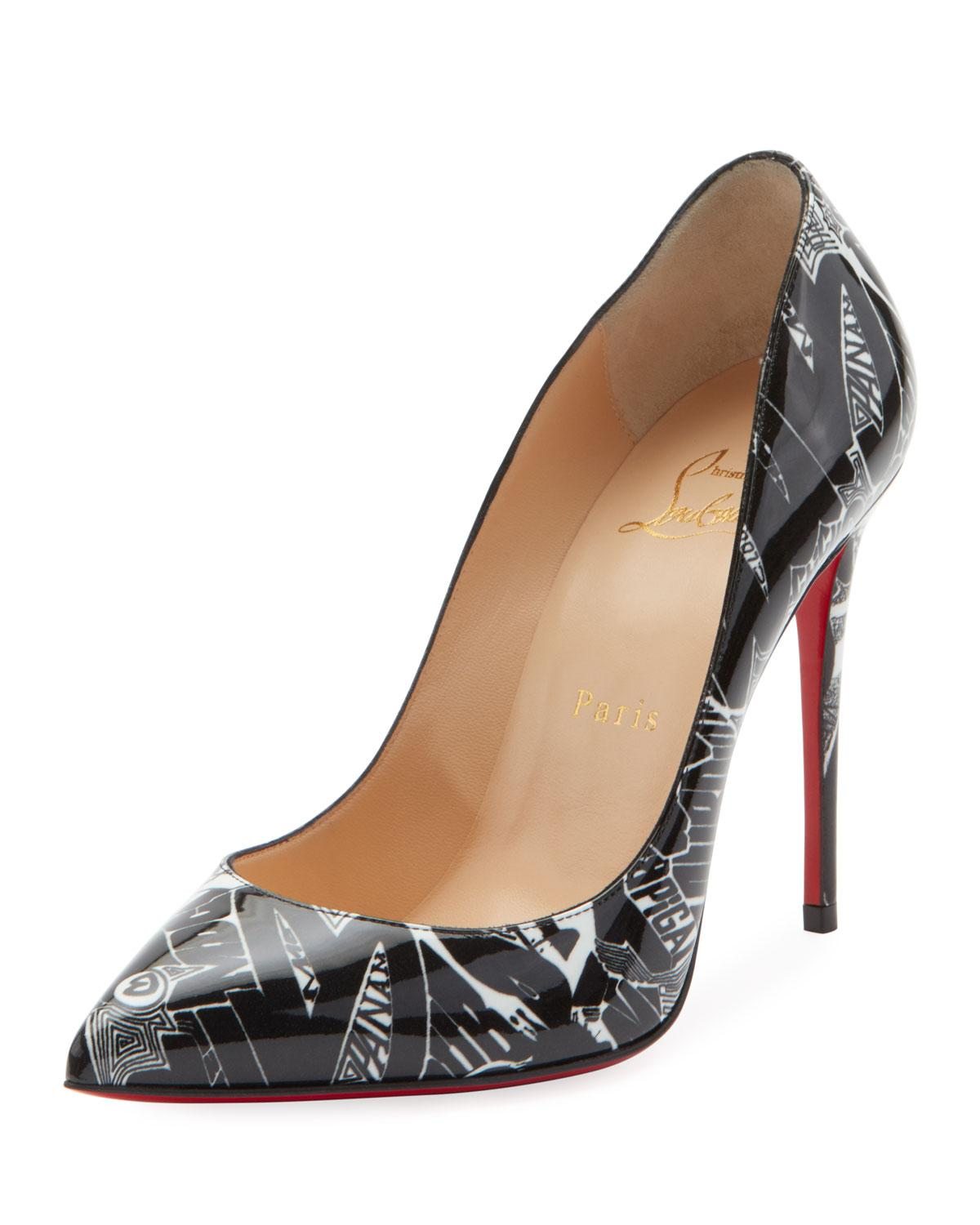 40212400961b Christian Louboutin. Women s Black Pigalle Follies 100mm Patent Nicograf  Red Sole Pumps