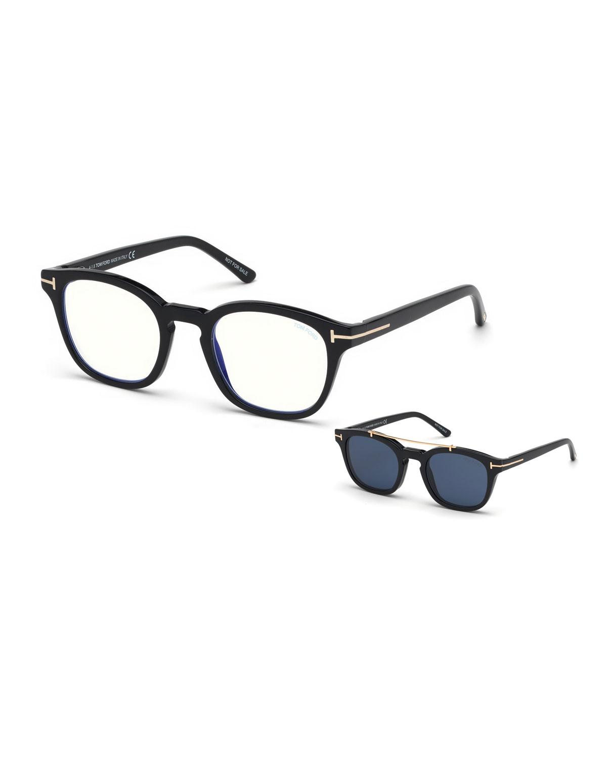 0a89f8450a54e Tom Ford. Women s Men s Square Optical Glasses W  Clip On Blue Block Lenses