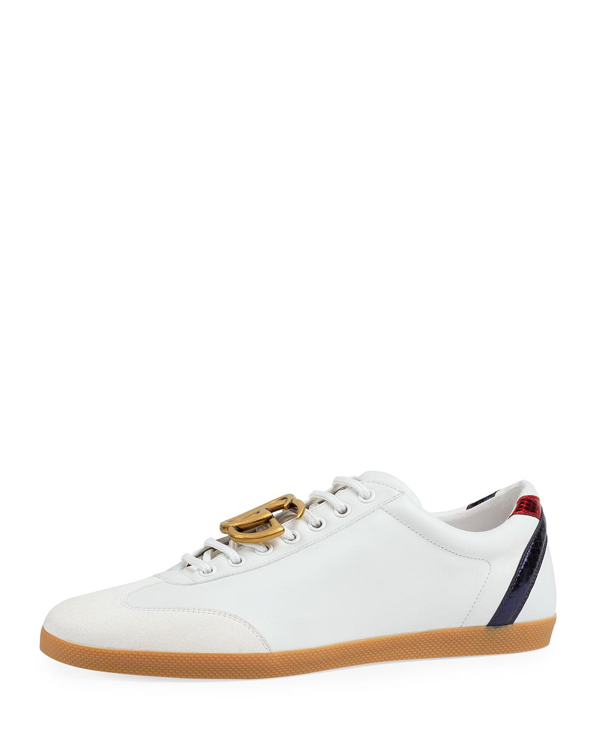 a92d648abd4 Lyst - Gucci Bambi Gg Leather Low-top Sneaker in White for Men